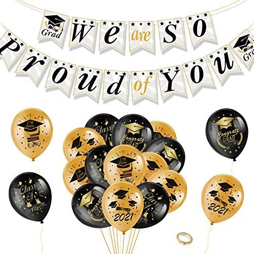 """HOWAF 2021 graduación Banner""""We Are So Proud of You""""Garland con graduación Globos de látex Negro y Oro de graduacion Birrete para Niños y Niñas y Mujeres y Hombres Universidad Primaria graduación"""