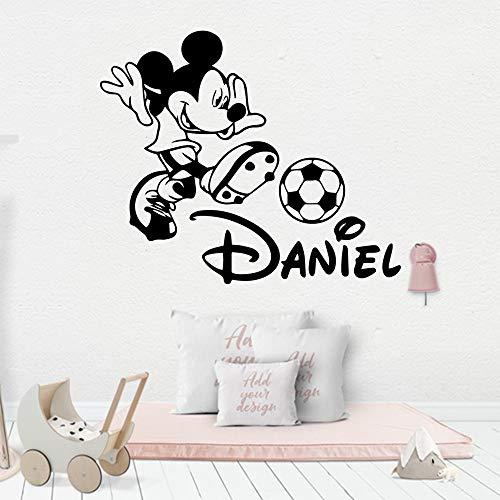 YuanMinglu Benutzerdefinierte Kind Name fußball Maus Vinyl wandaufkleber Dekoration Aufkleber Schlafzimmer tapete 50x63 cm