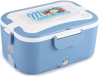 Portable Car Heating Lunch Box,1.5L Car Electric Heating Lunch Box Food Warmer Container for Traveling(Blue 24V)