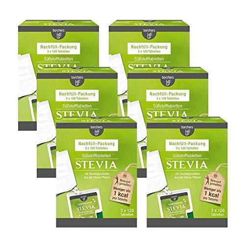6 x borchers Stevia Tabletten Nachfüllpack 3 x 120 Stück Perfekt zum Süßen von Kaffee, Tee