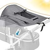 Dioxide Universal Kinderwagen Sonnensegel mit UV Schutz 50+ und Wasserdicht,Sichtfenster und extra...