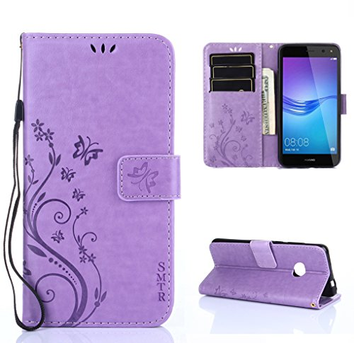 SMTR Wallet Cover Per Huawei Y6 2017, Custodia Per Huawei Y6 2017 - Retro Flowers Design Pattern Custodia In Pelle Con Wallet Case Cover Per Huawei Y6 2017 (porpora )