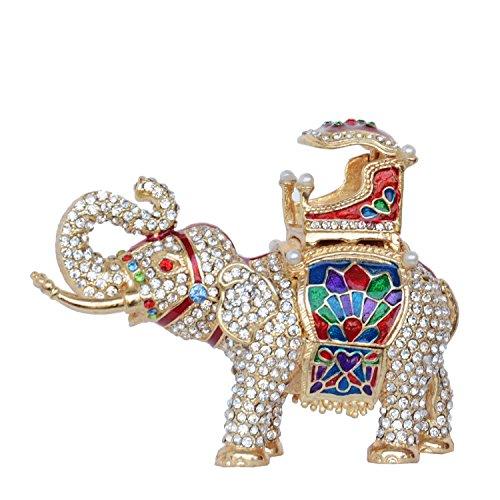 Jiaheyou Crystal Jeweled Elephant Trinket Jewelry Box Elephant Figures Statues Ring Holder