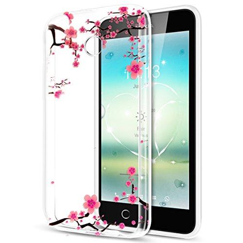 ikasus Kompatibel mit Schutzhülle Nokia Lumia 630/635 Hülle Handyhülle Tasche Hülle,Bunte Gemalt Kristallklar TPU Silikon Hülle Tasche Crystal Hülle Durchsichtig Schutzhülle,Blumen Pflaumenblüte #1