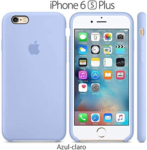 Funda Silicona para iPhone 6 Plus y 6s Plus Silicone Case, Calidad, Textura Suave, Forro Interno Microfibra (Azul-Claro)