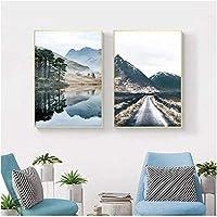 ポスターとプリントネイチャーレイクランドスケープキャンバスプリントポスター北欧スタイルの絵画写真モダンな家の装飾2個20x30cmフレームなし