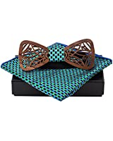 Amzchoice Handmade Mens Wood Bow Tie Wooden Bowtie with Matching Pocket Square