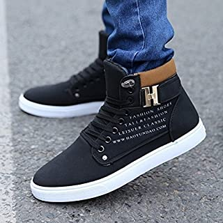 Mr.Choc Mens Comfortable Shoes Newest Fresh Arrival Retro Style Casual High Top Sneakers Canvas Shoes(10,Black)