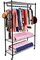 BEST ADJUSTABLE SHELVES - 3-Tier Large Organizing Clothes Hanging Rack with wheels,Side Hooks included.Adjustable leveling feet for your needs to store different sized items.This durable shelving is The ideal storage solution for organization your be...