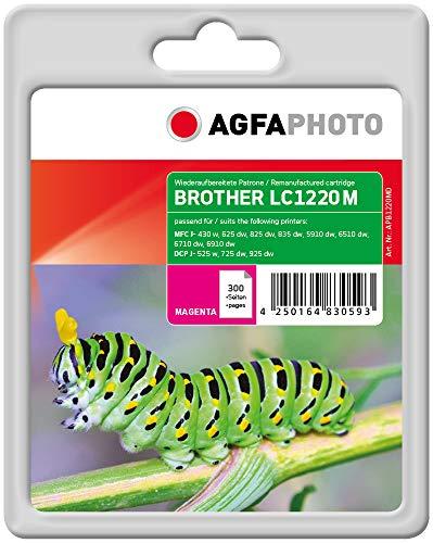 AgfaPhoto Tintenpatrone ersetzt Brother LC1220M, 300 Seiten, 7ml, magenta/rot (für die Nutzung in Brother MFC-J825DW)