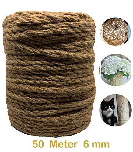 50 Meter 6 mm Garten Schnur Jute Kordel Garn Natur Bastelband Paketschnur Juteband Kunsthandwerk Verpackungs DIY String Dekoration Seil
