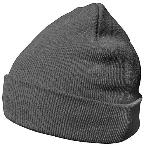 DonDon Wintermütze Mütze warm klassisches Design modern und weich dunkelgrau