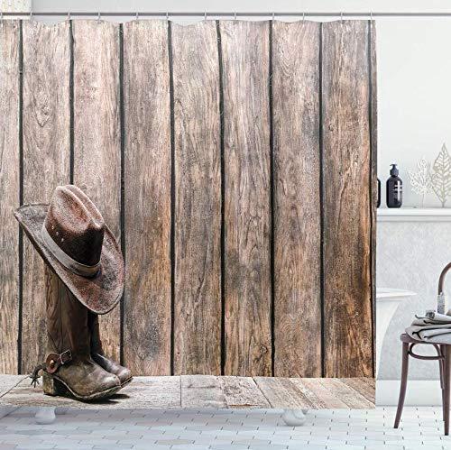 RTYRT 3D Bedruckter 180x200CM Western Duschvorhang Wild West Stiefel im Holzzimmer Folkloric Old Fashioned Wild Sports Thema Bild Badezimmer Dekor Set