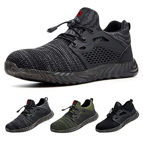 SUADEEX Sicherheitsschuhe Herren s3 Arbeitsschuhe Damen Leicht Atmungsaktiv Schutzschuhe mit Stahlkappe Sportlich Schuhe,02-Grau,39 EU