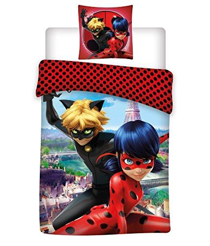 Aymax S.P.R.L Miraculous Ladybug Wendbarer Bettbezug mit Kissenbezug, Mikrofaser, Rot, 200x 140cm