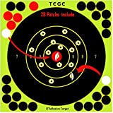 TEGE 30 & 60 & 100 Pack Shooting Targets 8×8 inch Adhesive Shooting Targets Reactive Self Stick Splatter Paper - Gun - Rifle - Pistol - Airsoft - BB Gun - Pellet Gun - Air Rifle