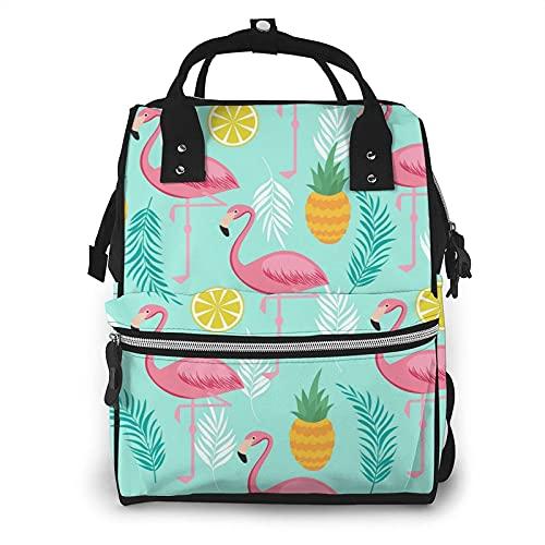 Tropical Jungle Leaves con Flamingos Bolsa de Pañales Multifunción Bolsas de Pañales para Cuidado del Bebé Impermeable Amplia Mochila de Viaje Abierta para Organización