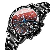 腕時計 メンズ クロノグラフ おしゃれ ビジネス 防水 多機能 日付表示 ステンレス クォーツ アナログ腕時計 ブラックウォッチ