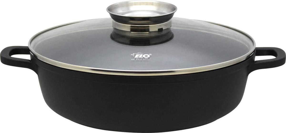 ELO Cacerola de cocina inducción redonda baja de aluminio fundido, 28cm. ALUCAST, con fondo encapsulado y tapadera de cristal, color negro, transparente y plateado, Ø28x8,5cm,1ud.
