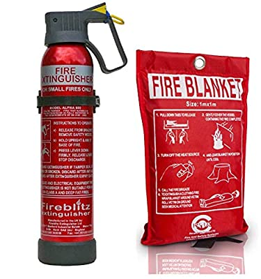 Introductory Offer on Fire Safety Pack 500g Dry Powder Multi Purpose Fire Extinguisher + 1 M X 1M Fire Blanket. for Home Kitchen Taxi Caravans Boats Offices. from Fss Uk Partners