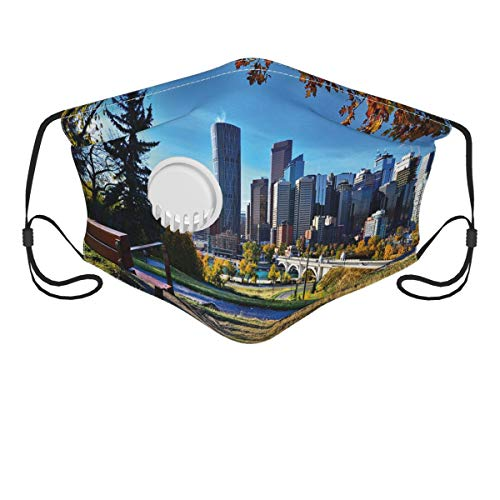 KENADVI Face Cover City Autumn Park in Calgary Print Balaclava Reusable Windproof Anti-Dust Mouth Bandanas Outdoor Wedding Party Sports Motorcycle Neck Gaiter with 2 Filters for Teen Men Women