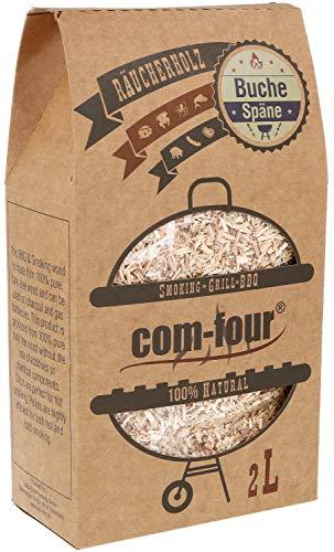 com-four® Premium Räucherspäne aus Buchenholz - 100% natürliches Raucharoma Buche - Räucherholz für Smoker, Kugelgrill, Standgrill und Gas-Grill - 500 g
