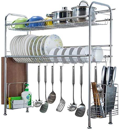 Nfudishpu Geschirrtrockner über Spüle Abtropffläche aus Edelstahl, 2-Ebenen-Utensilienhalter-Ausstellungsständer für Küchenarbeitsplatte, Breite 29,1 Zoll, B