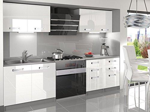 naka24 NEU Komplette Küche Infiniti I 160 cm Hochglanz Verschiedene Farbkombinationen (Weiss)