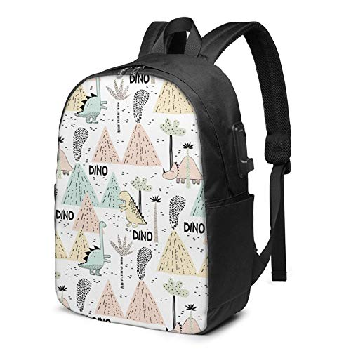 Travel Laptop Backpack, Cartoon Little Dinosaur Travel Laptop Backpack College School Bag Casual Daypack with USB Charging Port