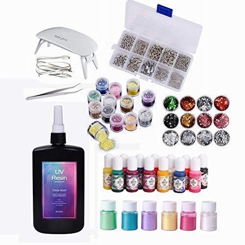 250g UV-hars 1min uitharding + kleurstoffen + parel pigmentpoeder + 24 holografische multi-vormige glitter + UV-lamp + pincet + 900 stuks Sieradenaccessoires voor doe-het-zelf-sieraden Sieraden maken