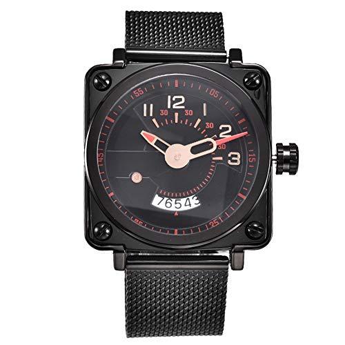 DAUERHAFT Reloj de Caja Cuadrada Unisex Caja Cuadrada Reloj de Regalo de Alta dureza con Forma Cuadrada para Novia con Calendario Impermeable 3ATM(Red)