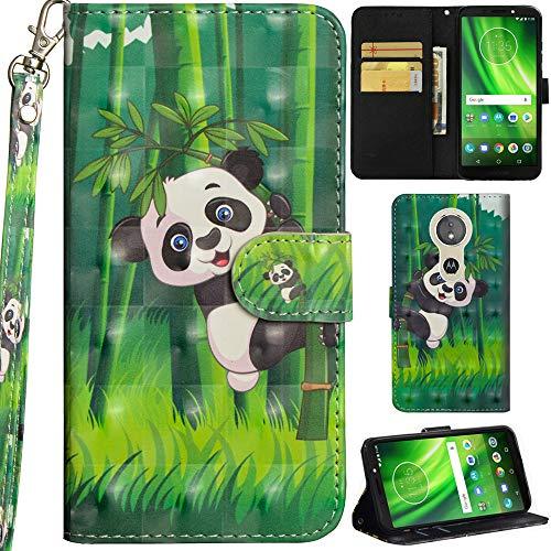 Ooboom Motorola Moto E5/G6 Play Hülle 3D Flip PU Leder Schutzhülle Handy Tasche Hülle Cover Ständer mit Trageschlaufe Magnetverschluss für Motorola Moto E5/G6 Play - Panda Bambus