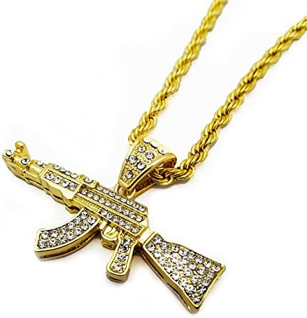 BLINGFACTORY Hip Hop 14k Gold Plated Iced CZ Large AK47 Gun Pendant 5mm 30 Rope Chain Necklace product image