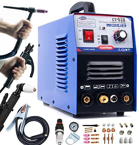 TIG Welder/Stick Welder/Plasma Cutter -Tosense CT418 3 in 1 Combo Multi-process Machine,120A TIG/MMA Welder, 30A Plasma Cutting, 110/220V Dual Voltage, 2/5 Inch Clean Cut Portable Machine