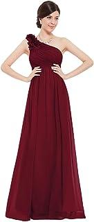 un Hombro Vestido de Fiesta Gasa A-línea sin Mangas Corte Imperio para Mujer 08237