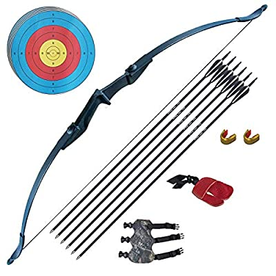Tongtu Archery Recurve Bow and Arrow Set for Adults Beginners 30 40Lbs Takedown Bow Kit with Arrows Target Left Right Hand Outdoor Training Target Practice Toy