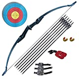 Tongtu Archery Recurve Bow and Arrow Set for Adults Beginners 30 40Lbs Takedown Bow Kit with Arrows Target Left Right Hand Outdoor Training Target Practice (40LBS)