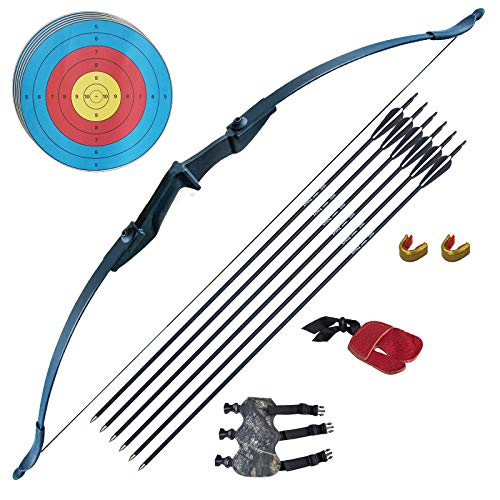 Tongtu Archery Recurve Bow and Arrow Set for Adults Beginners 30 40Lbs Takedown Bow Kit with Arrows Target Left Right Hand Outdoor Training Target Practice Toy (40LBS)