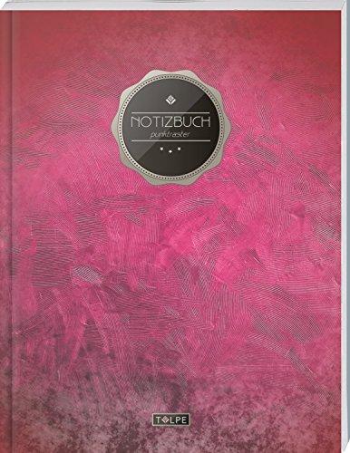 """TULPE Punktraster Notizbuch A4 """"C006 Blutrot"""" (140+ Seiten, Vintage Softcover, Punktkariertes Papier - Bullet Journal, Dickes Notizheft, Skizzenbuch, Tagebuch, Gepunktete Seiten, Dot Grid Notebook)"""