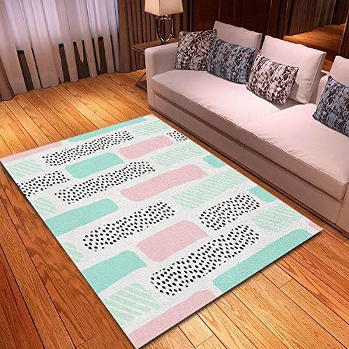 rouihot Non-Slip Area Rug 2'x 3' Pattern Brush Strokes in Pastel Pink Mint Green Rugs Carpet for Classroom Living Room Bedroom Dining Kindergarten Room
