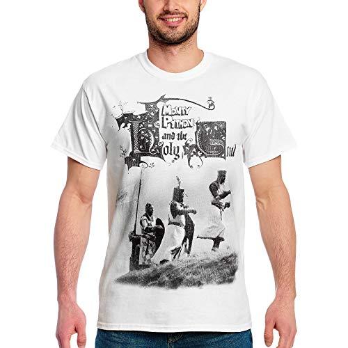 Elbenwald Monty Python T-Shirt Die Ritter der Kokosnuss Frontprint für Herren weiß - S