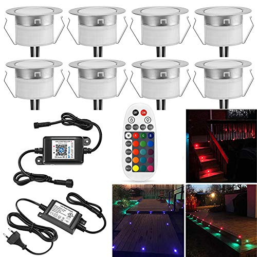 Bluetooth RGB Led Bodeneinbaustrahle Aussen 0.5W Ø45mm IP67 Wasserdicht LED Einbaustrahler Terrasse Küche Garten Led Lampe6er Full Kit