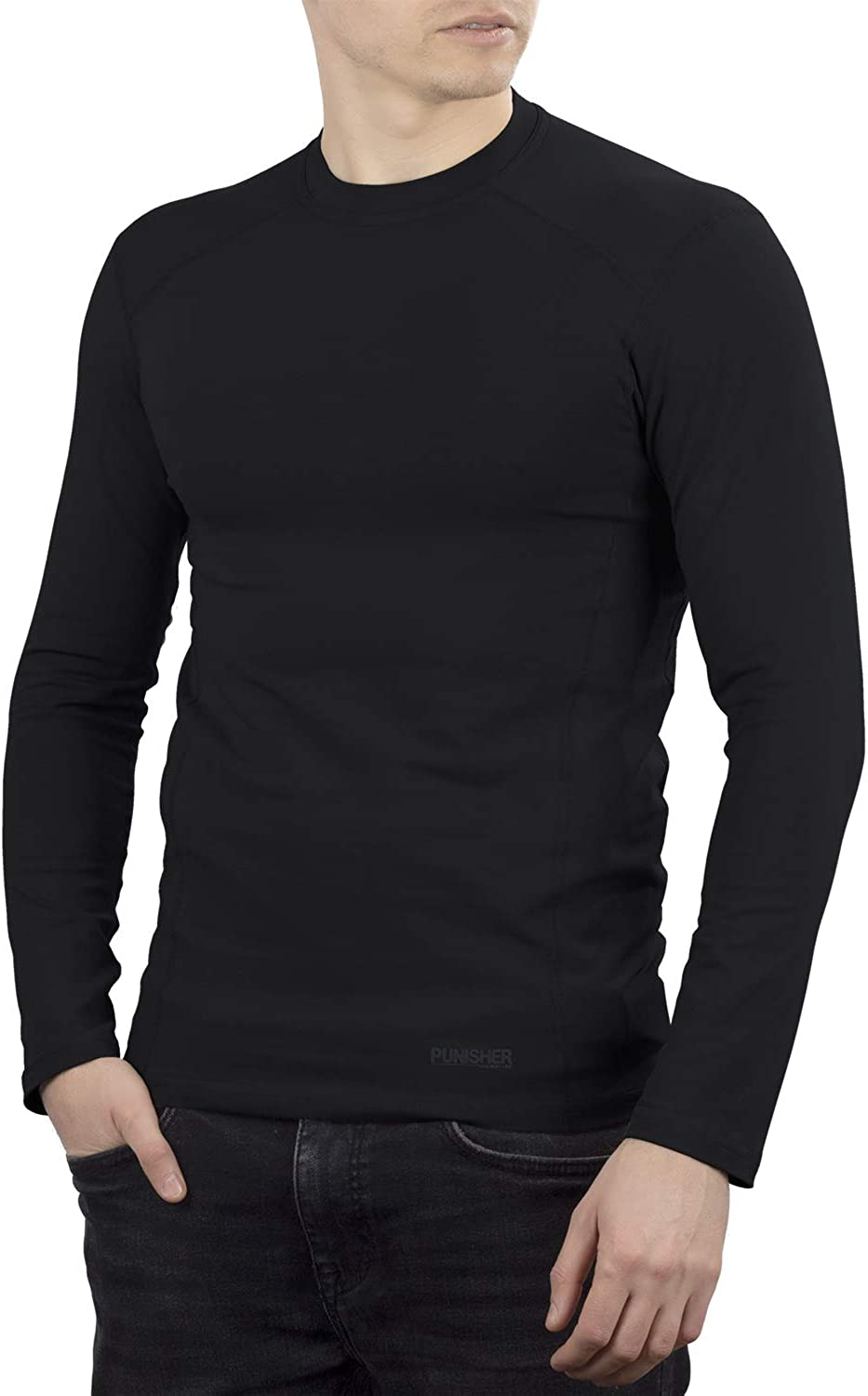 281Z Mens Military Stretch Cotton Long Sleeve T-Shirt - Tactical Hiking Outdoor Undershirt - Punisher Combat Line (Black)