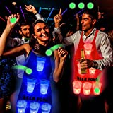 Six Senses Media Glowing in The Dark Beer Pong Game Set,2 Beer Pong Apron (1 Red &1 Blue),12 Set Light Up Beer Pong Cups for Indoor Outdoor Competitive Fun, Party Game for Adults,Play Anywhere