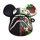 Toysdone Compatible with AirPods Case Keychain Full Protective Premium PVC Soft Rubber Silicone Cover Fashion Dope Self-Design Shark Skin for AirPods Charging Case (Shark Camo)