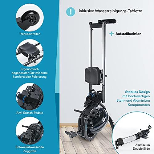 Skandika Wasser Rudergerät Nemo IV/V | Water Ruderzugmaschine mit regulierbaren Wasserwiderstand | Double-Slide-Konstruktion | Rower mit Multi-Funktionen Computer + Tablet-Halterung - 6