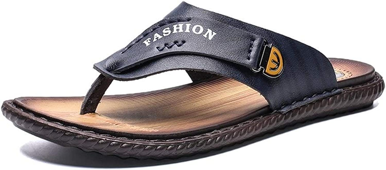 f82fb8fbe5f Summer Beach Flip Flops for Men Genuine Leather Outdoor Fashion ...