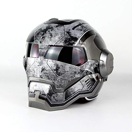 Wansheng Persönlichkeit Flip Front Motorrad Helm Iron Man Vollvisier Helm D. O. T Zertifiziert Straßenrennen Erwachsene Jugend (M, L, XL, XXL),Brightgray,M(55Cm~56Cm)