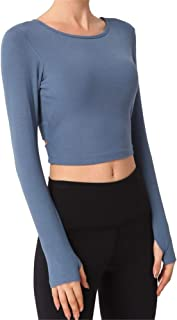 Women's Sexy Vest, Solid Color Long-Sleeved Round Neck Halter Stretch Sports Top, Tight-Fitting Chest Pad Sportswear,Blue,L