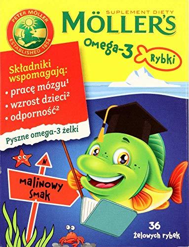 MÖLLER'S Omega-3 Gummy Fish para niños sabor frambuesa